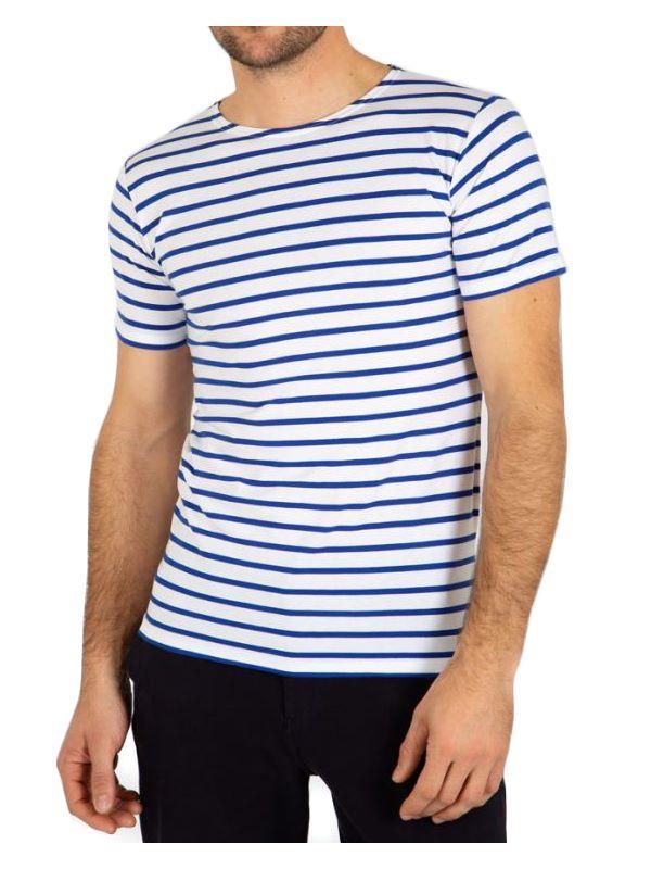 62337bdbe3 Armor Lux Breton Striped Cotton T-Shirt In White/Blue | Dapper Street