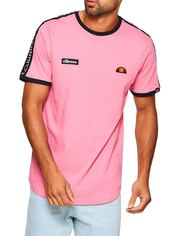 4dc5fa5c202 Ellesse Fede Taped T-Shirt In Pink | Dapper Street