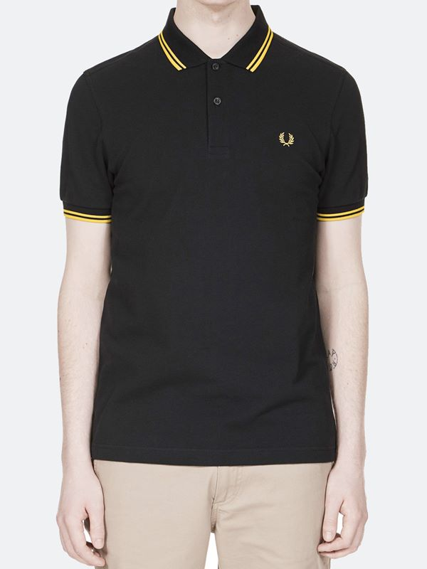 00119657afa7 Fred Perry Twin Tipped Polo In Black New Yellow