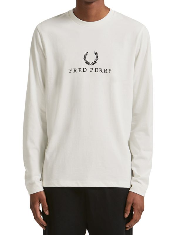 d7cf914e Fred Perry Embroidered T-Shirt Long Sleeve In Snow White | Dapper Street