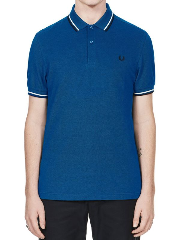 c6a9da639 Fred Perry Twin Tipped Polo In Prince Carbon Oxford/Snow White/Navy ...