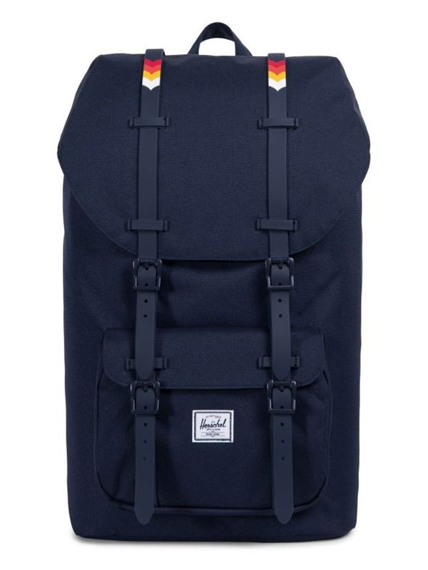 c0f8e700067 Herschel Little America Backpack In Peacoat   Rainbow Chevron Rubber ...