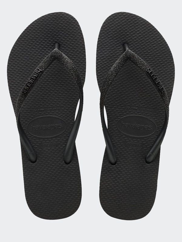 Slim Sparkle Flip Flops In Black