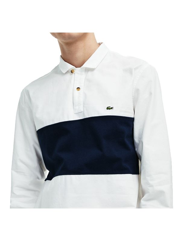 c14e68e5 Lacoste Oxford Rugby Shirt In Navy And White | Dapper Street