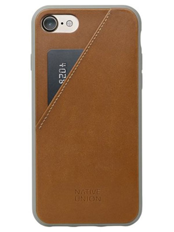 Native Union Clic Leather Card Case In Tan for IPhone 7/8 | Dapper
