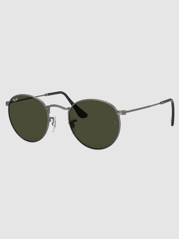 49a742c9581ee Ray-Ban Round Metal In Matte Gunmetal With Green Lens