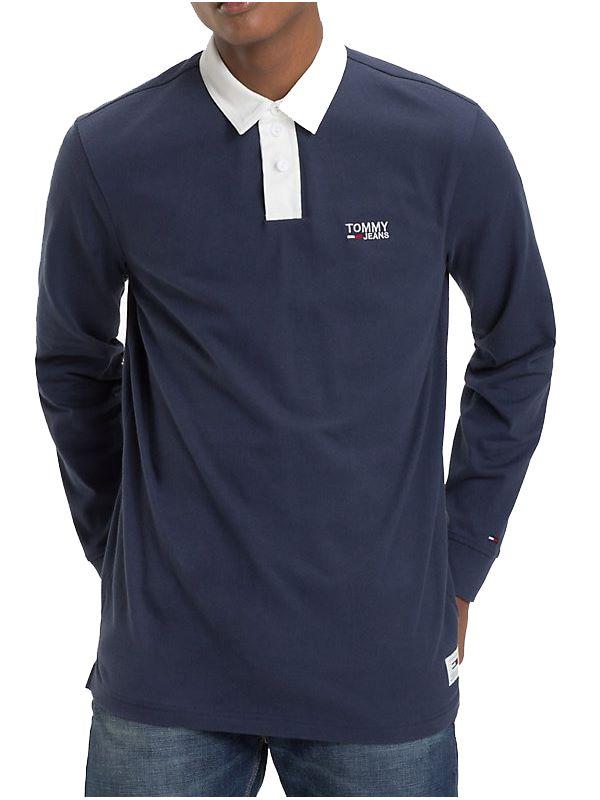 ba33c4dd Tommy Jeans Essential Rugby Shirt In Navy | Dapper Street
