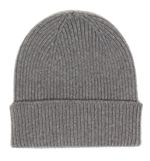 100% Italian Merino Wool Beanie In Heather Grey